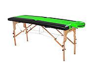 Стол массажный деревянный 2х секционный, кушетка, для наращивания ресниц, RELAX.косметологии, процедур, тату черно-салатовый