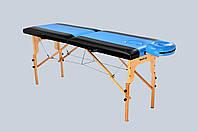 Стол массажный деревянный 2х секционный, кушетка, для наращивания ресниц, RELAX.косметологии, процедур, тату черно-синий