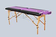 Стол массажный деревянный 2х секционный, кушетка, для наращивания ресниц, RELAX.косметологии, процедур, тату черно-фиолетовый