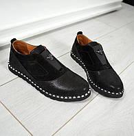 Туфли классические женские без каблука кожаные/замшевые черные/серебристые 0004ТОПС