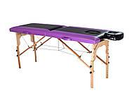 Стол массажный деревянный 2х секционный, кушетка, для наращивания ресниц, RELAX.косметологии, процедур, тату фиолетово-черный