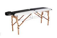 Стол массажный деревянный 2х секционный, кушетка, для наращивания ресниц, RELAX.косметологии, процедур, тату бело-черный