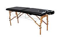 Стол массажный деревянный 2х секционный, кушетка, для наращивания ресниц, RELAX.косметологии, процедур, тату черный
