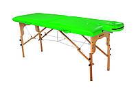 Стол массажный деревянный 2х секционный, кушетка, для наращивания ресниц, RELAX.косметологии, процедур, тату салатовый