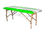Стол массажный деревянный 2х секционный, кушетка, для наращивания ресниц, RELAX.косметологии, процедур, тату салатово-белый