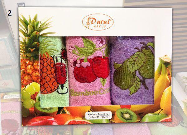 Durul  набор полотенец махровых 50*30 см. 3шт фрукты в коробке