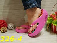 Шлепанцы 35 размер  резиновые на высокой платформе  розовые К326-4