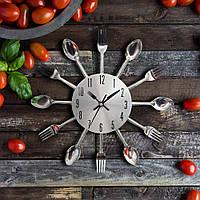 """Настенные часы кухонные """"Ложки-вилки"""" столовые приборы (32х32 см) [Металл]"""