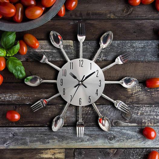 """Настенные часы кухонные """"Ложки-вилки"""" (32х32 см) [Металл]"""