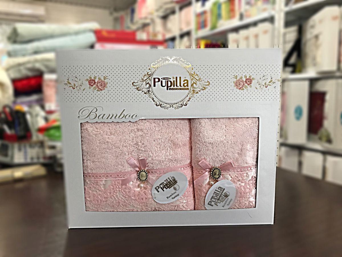 Набор бамбуковых полотенец в коробке  Pupilla Clara (розовые)