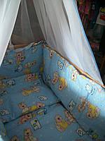 Постельное бельё  Мишки с часиками голубой 9 элементов, фото 1