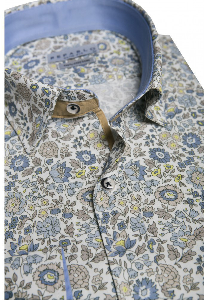Белая рубашка с цветочным узором KS 1824-1 разм. 3XL