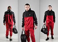 Комплект Анорак красно-черный + штаны красные, Nike, мужской весенний