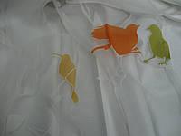 """Тюль с оранжево-зелеными птицами  для современного интерьера в стиле """"Модерн"""" Nerius 01 ."""