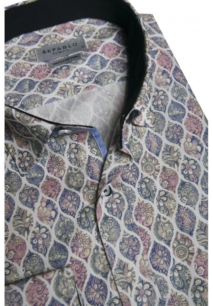Серая рубашка с цветочным узором KS 1825-1 разм. L