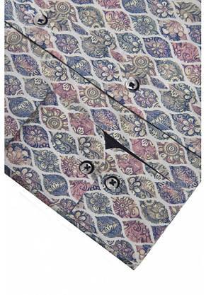 Серая рубашка с цветочным узором KS 1825-1 разм. L, фото 2