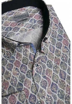Серая рубашка с цветочным узором KS 1825-1 разм. XXL, фото 2