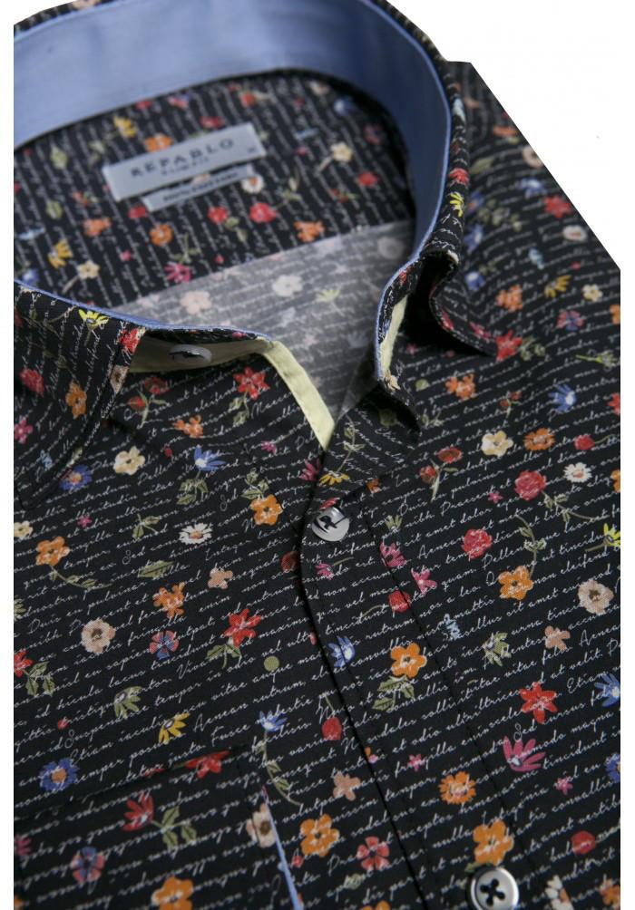 Черная рубашка с цветочным узором KS 1826-1 разм. L