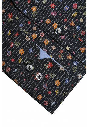 Черная рубашка с цветочным узором KS 1826-1 разм. L, фото 2