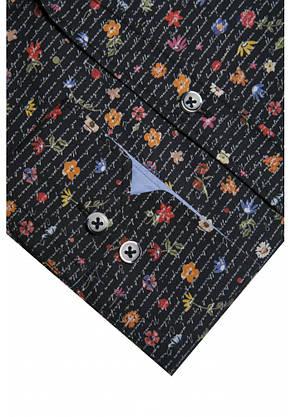 Черная рубашка с цветочным узором KS 1826-1 разм. XL, фото 2