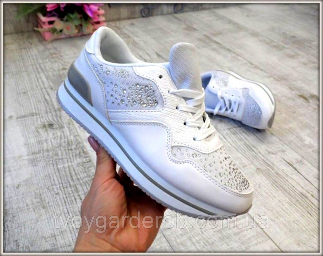 121493b7b Стильные женские белые кроссовки (р36-39) - интернет-магазин