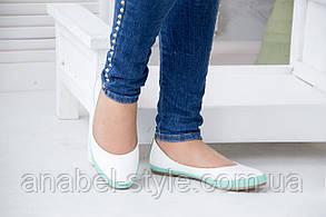 Балетки женские из натуральной кожи закругленный носочек белые с бирюзовой вставкой Код 1407 AR, фото 2