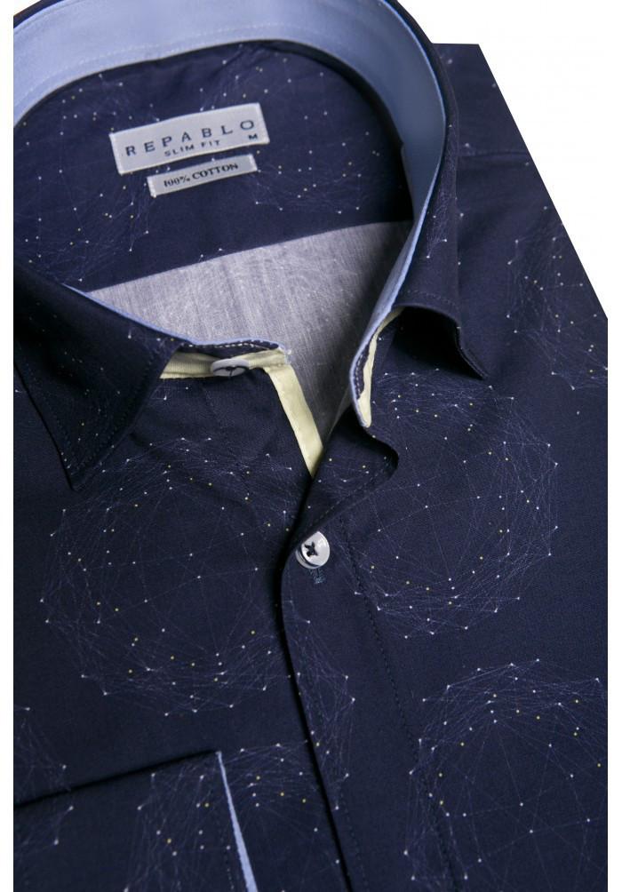 Темно-синяя рубашка с геометрическим узором KS 1829-1 разм. XL