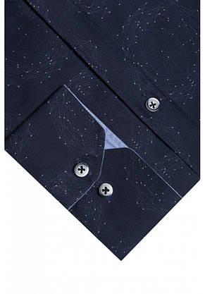 Темно-синяя рубашка с геометрическим узором KS 1829-1 разм. XL, фото 2