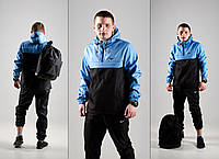 Комплект Анорак черно-голубой + штаны черные, Nike, мужской весенний, фото 1