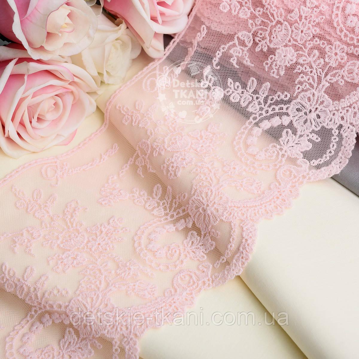 Кружево  Блюмарин с мелкими цветочками светло-розового цвета с хлопковой нитью, 14 см.