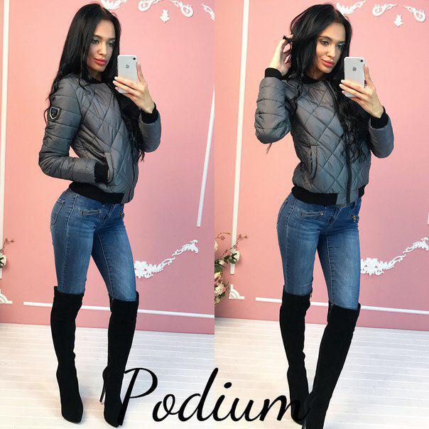 f4e31b75d9be2 Женская демисезонная стеганая куртка серого цвета - Интернет-магазин