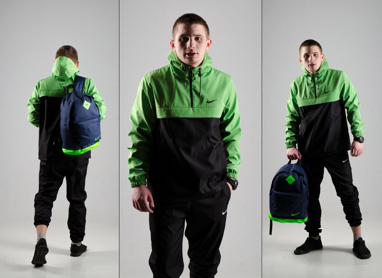 Комплект Анорак черно-зеленый + штаны черные, Nike, мужской весенний, фото 1