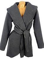 Укороченное пальто с поясом (в расцветках)