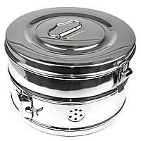 Коробка стерилізаційна з нержавіючої сталі з Schimmelbusch № 6. Діаметр 240 мм, висота 145 мм