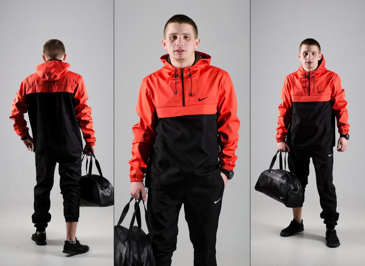 Комплект Анорак черно-алый + штаны черные, Nike, мужской весенний, фото 1
