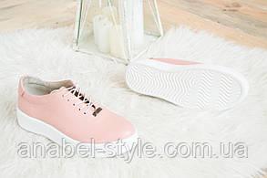 Слипоны со шнуровкой женские на белой подошве натуральная кожа цвета пудры Код 1422 AR, фото 2