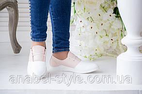 Кеды женские из натуральной кожи белого цвета со вставками кожи цвета пудры на шнуровке Код 1423 AR, фото 2