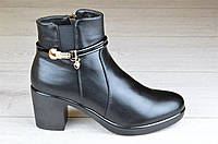 Весенние полусапожки ботинки ботильоны женские черные на широком каблуке (Код: М1086)
