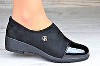 Весенние туфли, мокасины на танкетке женские черные низкий подъем (Код: М1088)