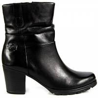 Кожаные сапоги женские черные на каблуке МАРКО ТОЦЦИ 25457-27