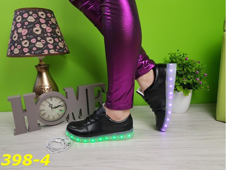Кроссовки LED светящаяся подошва чёрные