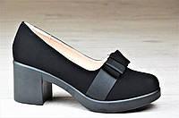 Туфли женские на каблуке и небольшой платформе черные элегантные (Код: Т1095)