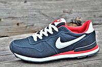 Кроссовки женские, подростковые натуральная кожа, замша темно синие Nike Air Max реплика (Код: Б1104)