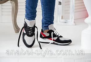 Кроссовки женские стильные из натуральной замши на шнуровке цвета серый+черный+красный Код 1428 AR, фото 2
