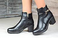 Весенние полусапожки ботинки ботильоны женские черные на широком каблуке (Код: М1086а)