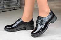 Весенние женские полуботинки, ботинки черные лакированые удобные (Код: Б1089а)