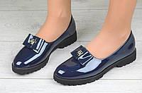 Туфли женские темно синие стильные элегантные лакированые (Код: М1092а)