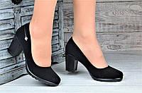 Туфли женские на каблуке и небольшой платформе черные стильные (Код: Б1094а)