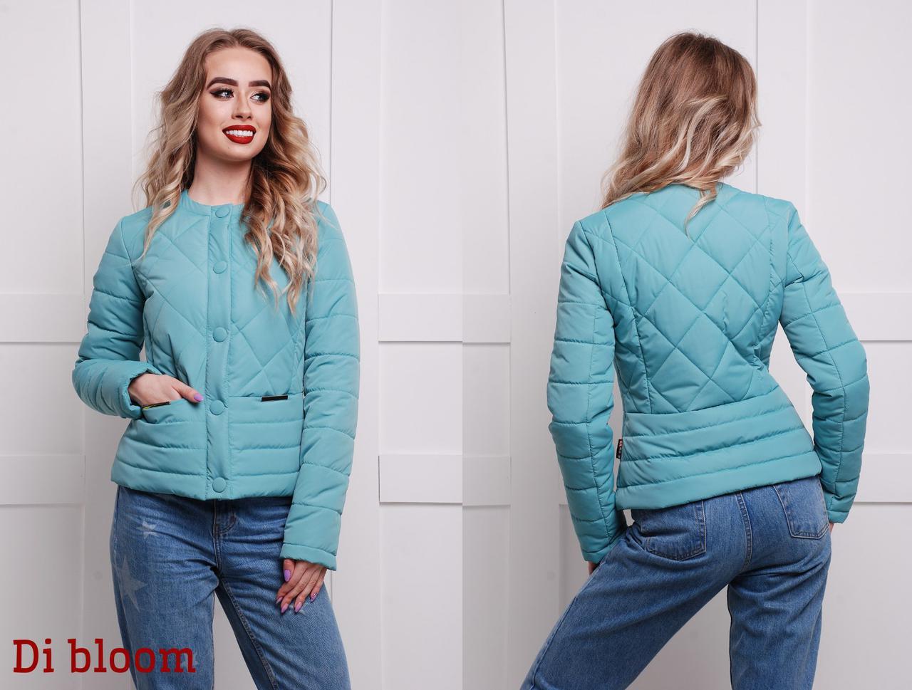 c1cbf85ebd6 Короткая стеганая бирюзовая куртка на весну - Интернет-магазин