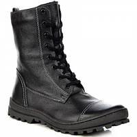 Черные ботинки высокие кожаные утепленные Helios 625